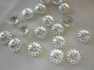 30 Silver Coloured 12x5mm Filigree Bead Caps #bc2543 Combine Post-See Listing