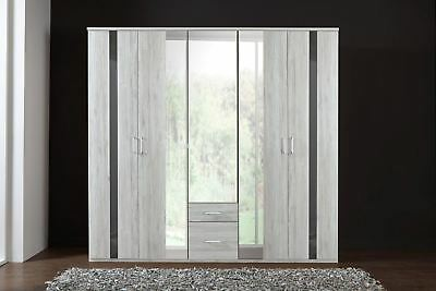 German Nizza Driftwood White Oak Grey Gloss 225cm Mirror Door Drawer Wardrobe