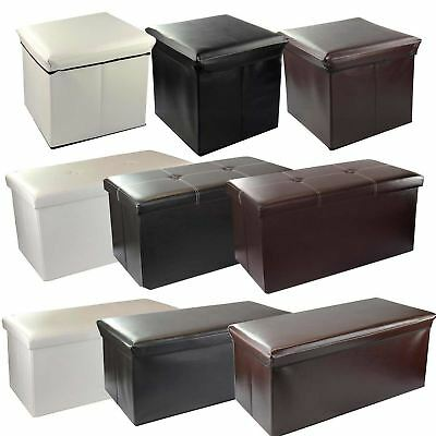 Large Faux Leather Ottoman Folding Storage Box Pouffe Foot Stool Seat Toy Chest