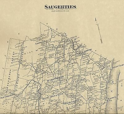 Saugerties Malden Glasco Quarryville, NY1875 Map with Homeowners Names Shown