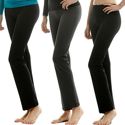 New Womens Yoga Fitness Gym Crossfit Skin Tights Compression Bootcut Pants