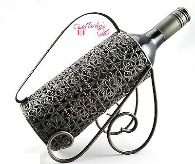 Metal Wine Bottle Holder Floral Design Metal Bottle Holder