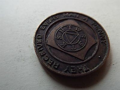 Scottish Masonic Token They Received Every Man A Penny (refn7185B)
