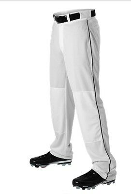 Alleson Athletic Youth Baseball Pant White w Braid Piping 605WLBY Open Buttom