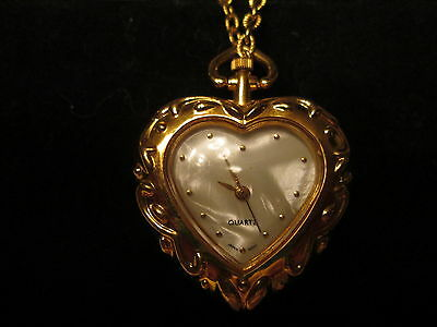 """Vtg. Heart Watch Pendant with 30""""Chain.Genuine Mother-of-Pearl Face*NIB*1993"""