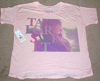 Taylor Swift girl's Medium printed short sleeve top Pale Peach Color