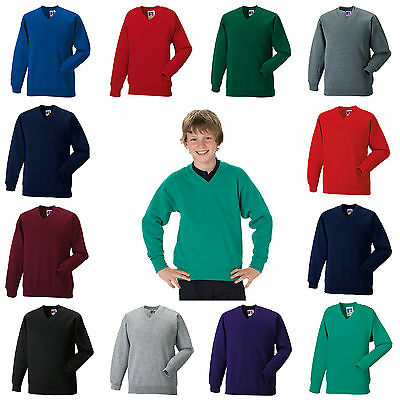 School Uniform Sweatshirt V Neck Jumper Pullover Boy Girl Russell Jerzees 272B