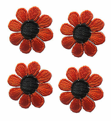 #2987Lot 4Pcs Spring Orange Black Daisy Flower Embroidery Iron On Applique Patch