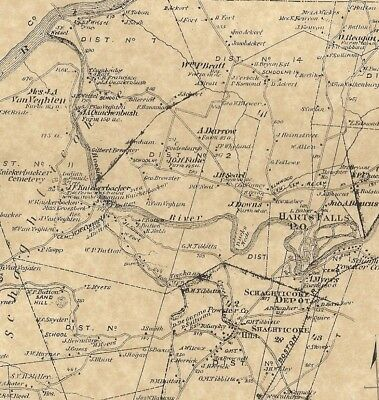 Schaghticoke Johnsonville Valley Falls NY 1876 Maps with Homeowners Names Shown