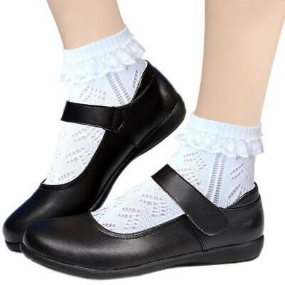 Girls Flat toe seam Cotton Pointelle Ankle School Socks White Sensitive feet