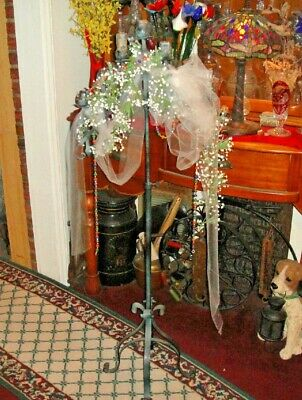 Vintage Wrought Iron Candelabra Funeral Home Candle Stand-Religious Decor