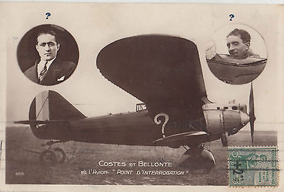 Postcard 1914 Costes Et Bellonte French aviators charity stamp to Australia rare