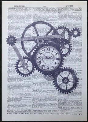 Vintage Clocks Cogs Picture Print Steampunk Industrial Dictionary Page Wall Art