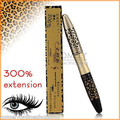 HOT 2IN1 Leopard Long Curling Black Mascara 3D Fiber Lashes Eyelashes Extension