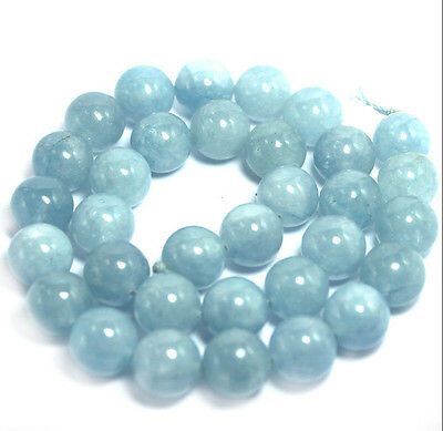 "Genuine 6mm Natural Aquamarine Round Gemstone Loose Beads 15"" Strand AAA+AAA"