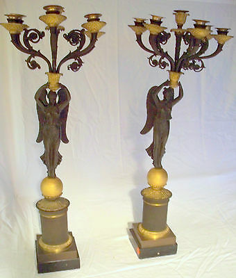 Pair of Empire French Antique  Bronze Candelabras
