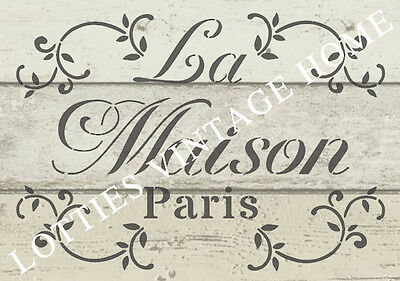 STENCIL FRENCH A5 LA MAISON For Furniture Fabric Arts Vintage Shabby Chic ❤