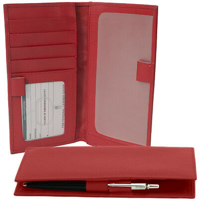 ILI Leather Red Checkbook Cover Credit Card Holder  w/ Pen Loops  RFB NEW