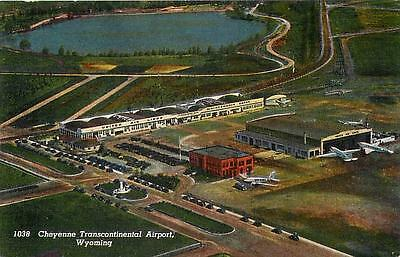 CHEYENNE TRANSCONTINENTAL AIRPORT, WY Wyoming  Aerial View  c1940s  Postcard
