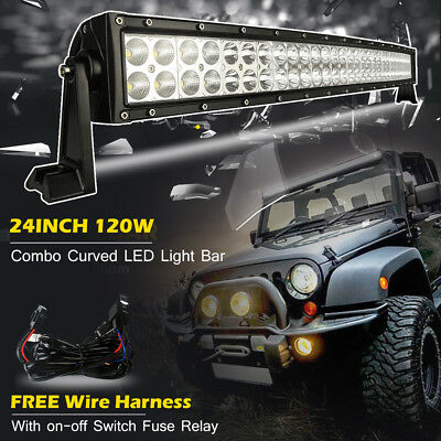 22inch 120W Curved Led Combo Work Light Bar Pods Truck SUV Off Road Jeep 20/24