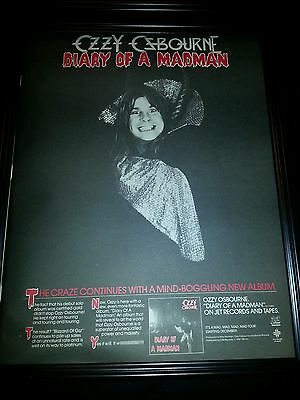 Ozzy Osbourne Diary Of A Madman Jet Records Rare Original Promo Poster Ad Framed