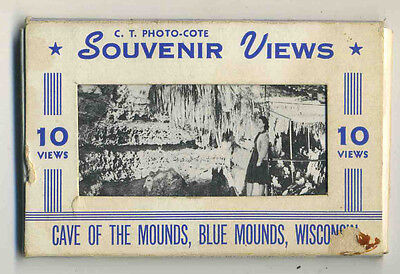 Vintage 1950's 10-Pak B/W Mini-Views CAVE OF THE MOUNDS, Blue Mounds, Wisconsin
