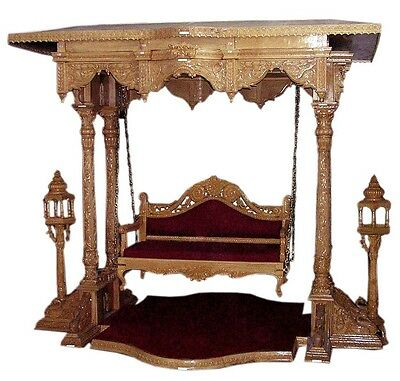 wooden indoor four pillar hand carved unique  royal swing / jhula / porch swing
