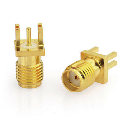 "10pcs SMA Female End Launch Jack PCB Mount .040"" 1mm straight RF Connector Gold"