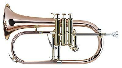 Lechgold Fh-60G Brass Flugelhorn 3 Monel Valves Bb Tuning Mouthpiece Case Bronze