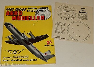 AERO MODELLER March 1960 Speed Calculator bien présent + VICKERS Vanguard CESSNA