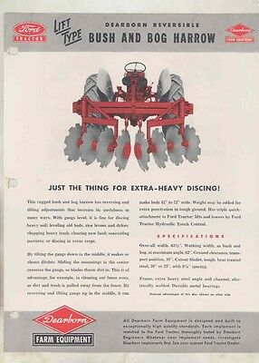 1950 Ford 8N Tractor Dearborn Implements Bush and Bog Harrow Brochure wv0681