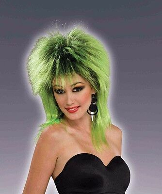Womens Green & Black Punk Wig 80s Spiked Hair Mullet Style Rocker Costume Adult