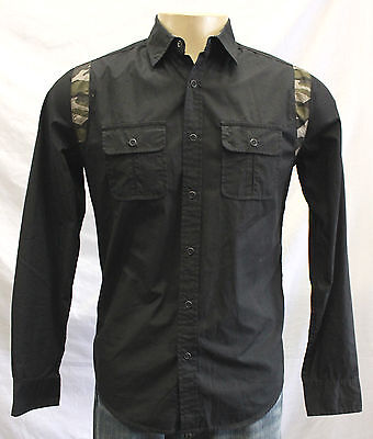 Nwot Men's Bar Iii Button Down L/S Shirt Black W/Army Print Size:s