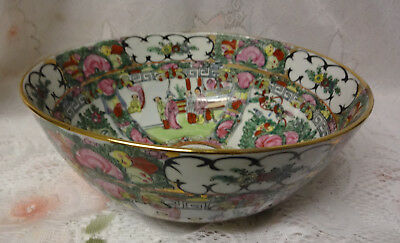 Old Imperial Figures Painted Chinese Famille Rose Medallion Porcelain Bowl