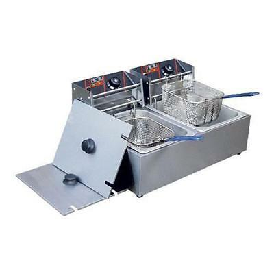 Electmax Benchtop Electric Fryer, Double 2x 5.5L, Commercial Kitchen Equipment