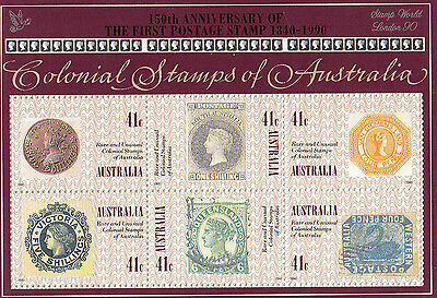 Colonial Stamps of Australia mini sheet with world show London 90 overprint MUH