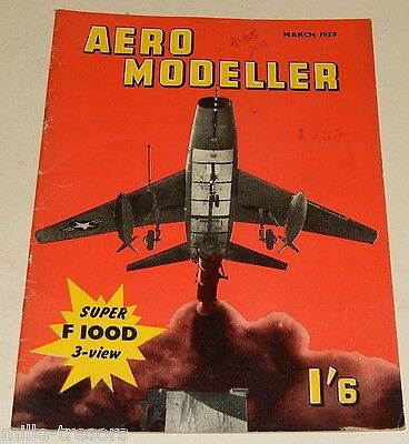 AERO MODELLERS March 1959 Plan North American F-100D Super S.... US + PLUTO