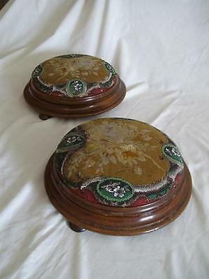 A Pair Of Antique Victorian Mahogany & Beaded Foot Stools