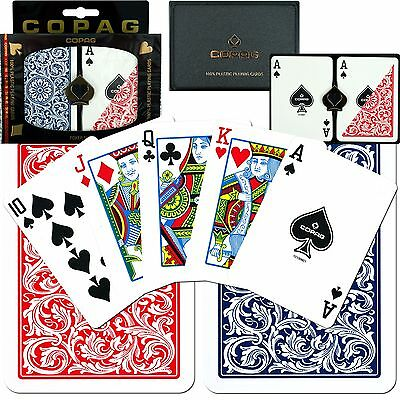 Copag Poker Size Regular Index Red and Blue 100-Percent Plastic Playing Cards