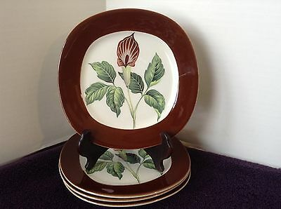 Taylor Smith Taylor King O'Dell Brown 4 Bread & Butter Dessert Plates 1950's