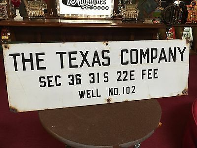"Mid Century THE TEXAS COMPANY Oil Well Porcelain Sign 12"" x 36"""