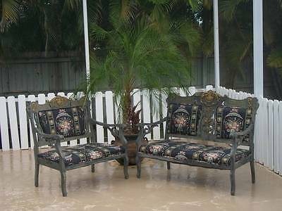 vintage two piece SETTEE set antiqued grey gold black floral upholstery fabric