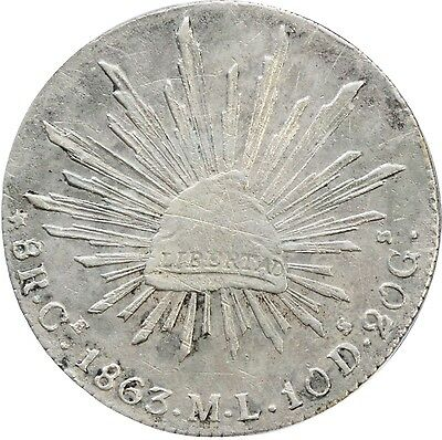 Mexico 8 Reales Ce 1863 M.L. Real de Catorce. Extremely Scarce. One Year Issue.