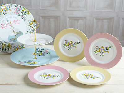 KATE ALICE Bird Song CAKE PLATE SET Cake Stand & 4 Side Plates