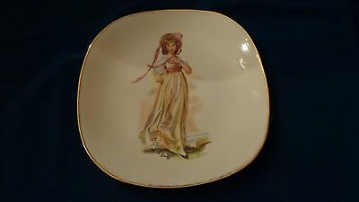 English Made Bone China JG Meakin Plate Girl in Dress Titled PINKY GREAT LQQK