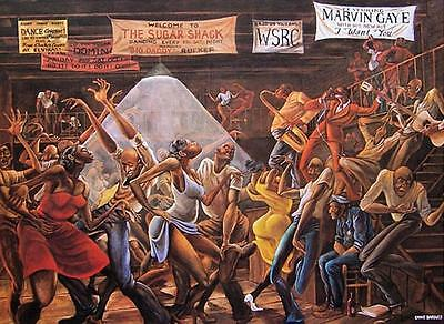 Ernie Barnes The Sugarshack Print Lithograph Best Selling Goodtimes Marvin Gaye