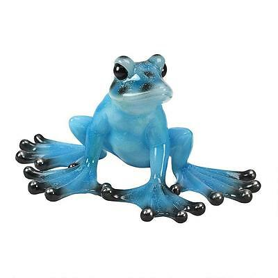 Poised to Jump! Vibrant Blue Jungle Frog Decorative Garden Home Sculpture Statue
