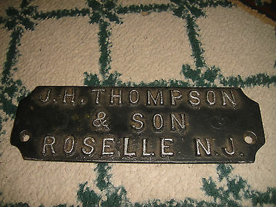 Antique Steel Name Plate Wall Plaque-JH Thompson & Son Roselle New Jersey-RARE