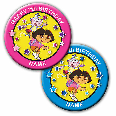 DORA THE EXPLORER  BIRTHDAY BADGES/FRIDGE MAGNET/MIRRORS - 58MM or 77MM