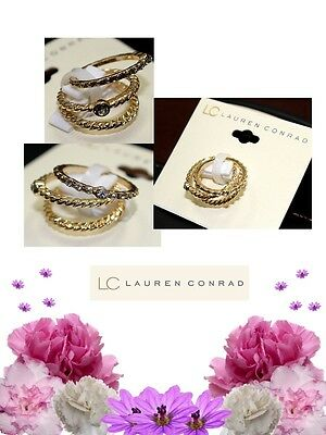 LC Lauren Conrad Stack Ring Set Size 7 gold-tone wavy design & simulated crystal